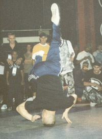 Asa doing a headspin at UK Championships 1997