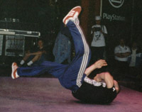 Asa doing a windmill at UK Championships 1997