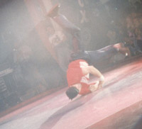Darrel doing a windmill at the UK B-Boy Championships 1996