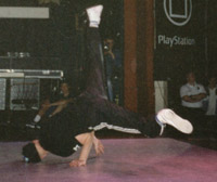 Junk doing windmills at the UK B-Boy Championships 1997