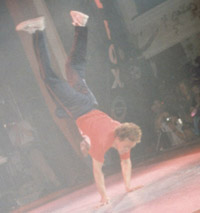 Nick doing a flip at the UK B-Boy Championships 1996