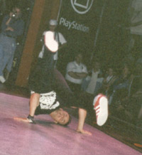 Nick doing a freeze at the UK B-Boy Championships 1997