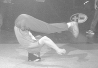 Junk doing headspin at the UK B-Boy Championships 1996