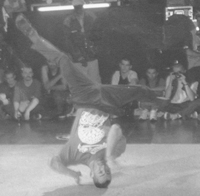 Asa doing halos at the UK B-Boy Championships 1996
