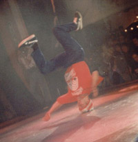 Tony doing a headspin at the UK B-Boy Championships 1996