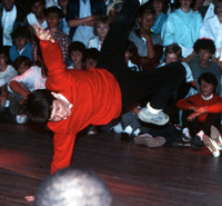 member of Aries Crew doing 'One Handed Swipes' at the Battle at the Mayfair - Southampton 1985