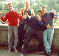 Nick,John (Junk),Dom and Asa in Bern,Switzerland before CH Fresh 1990