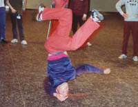 Tony doing a headspin while waiting to go on ZDF television -Frankfurt 1990